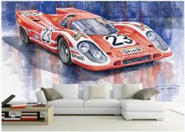 $enCountryForm.capitalKeyWord Australia - WDBH 3d wallpaper custom photo European-style hand-painted red 23rd racing car living room home decor 3d wall murals wallpaper for walls 3 d