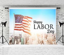 $enCountryForm.capitalKeyWord Australia - Dream 7x5ft Happy Labor Day Photography Backdrop USA Flag City Building Photo Background for Photographer Shoot Studio Prop
