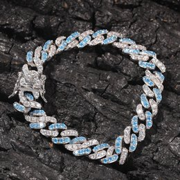 Pave link chain bracelet online shopping - Blue white Cubic Zirconia Paved Bling Iced Out Cuban Curb Miami Link Chain Bracelets For Men Hip Hop CZ Rapper Jewelry