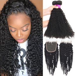 loose curly virgin hair 2019 - 9A Malaysian Virgin Hair Lace Closure With 4 Bundles Curly Loose Deep Wave Cheap Human Hair Extension Bundles With 4x4 L