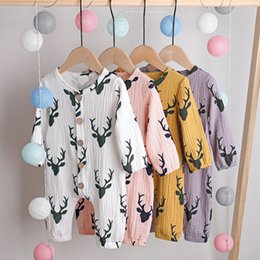 deer baby clothes boy Australia - INS baby Boy Girl clothes romper Spring Fall Long Sleeve O-neck Deer Print Soft Romper Clothes 100% cotton kid Girl Boy rompers 0-2T