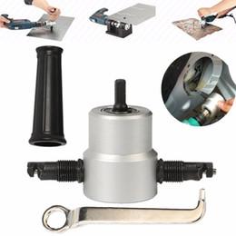 Drilling Cutter Australia - Nibble Metal Cutting Double Head Sheet Nibbler Saw Cutter Tool Drill Attachment Free Cutting Tool Nibbler Sheet Metal Cut
