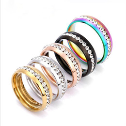$enCountryForm.capitalKeyWord NZ - Size 5-13 Men Women Wedding Gold Silver Black Rose Gold Rainbow Crystal Rhinestone Stainless Steel Band Ring Engagement Party Gift