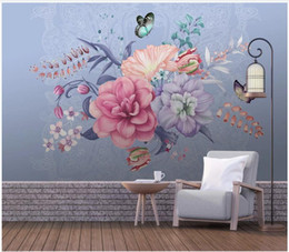 Houses wallpapers online shopping - WDBH d photo wallpaper custom mural European minimalist hand painted floral butterfly living Room d wall murals wallpaper for walls d