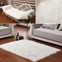 Long Faux Fur Artificial Skin Rectangle Fluffy Chair Seat Sofa Cover Carpet  Mat Area Rug Living Bedroom Home Decoration White eac5c9f03