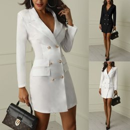 ElEgant whitE blazErs online shopping - Autumn Winter Suit Blazer Women New Casual Double Breasted Pocket Women Long Jackets Elegant Long Sleeve Blazer Outerwear SH19062702