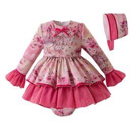 0d372d5b059 Pettigirl Conjunto de ropa para niña pequeña Flor española Vestido de niña  con pantalones de PP y Bonnet Boutique de cumpleaños Ropa para niña  G-DMCS107- ...