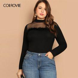 $enCountryForm.capitalKeyWord Australia - Colrovie Plus Size Black Solid Mesh Faux Fur Korean T-shirt Women Clothes 2019 Spring Long Sleeve Tee Shirts Vintage Ladies Tops SH190720