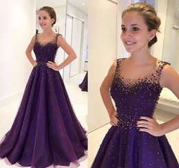 Holiday Evening Gowns Floor Length Australia - 2018 Beaded Purple Evening Dress High Quality A Line Floor Length Formal Holiday Wear Prom Party Gown Custom Made Plus Size