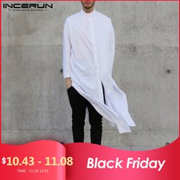 stand up collar shirts men Australia - INCERUN Men Long Shirt Solid Stand Collar Long Sleeve Button Up Tops Chic Fashion Indian Brand Shirts Men Streetwear 2019 S-5XL LY191203