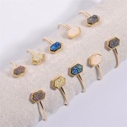 $enCountryForm.capitalKeyWord Australia - 2019 Geometric Hexagon Drusy Druzy Bracelet Bangle Gold Plated Resin Bracelets For Women Lady Jewelry Gift