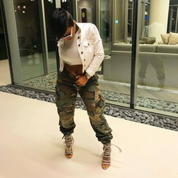 camouflage outfits women Australia - Army Green Camouflage Cargo Pants Hip PopTrends Fashion Ladies Girls Sexy New LS6114 Camo Leopard Club Party Outfits Streetwear Clubwear