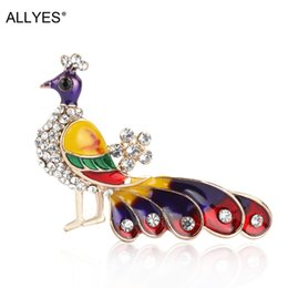 Peacock rhinestone brooch online shopping - ALLYES Peacock Phoenix Brooches for Women Enamel Glaze Painted Bird Wings Rhinestone Inlay Brooch Pins Gifts Accessories Jewelry