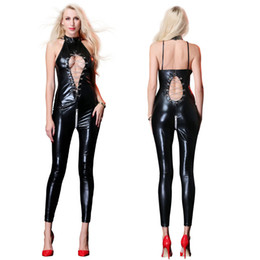 $enCountryForm.capitalKeyWord Australia - Women Sexy Lingerie Hot Black Faux Leather Catusit Wetlook Cut Out Metal Chain Elastic Bodysuit Erotic Stripper Night Clubwear