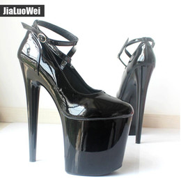Discount sky blue dress shoes for men - Extreme 20cm High Spike Heel Platform Pumps Patent Pointed Toe Women Ankle Strap Boots - Exotic Fetish Sexy Nightclub Da