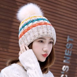 ladies knitted winter hats Australia - hats designer hat Keep Warm Thin Elegant Women Girl Knitted Hats Warmed Fur Cap Autumn Winter Ladies Female SK86-384a6#