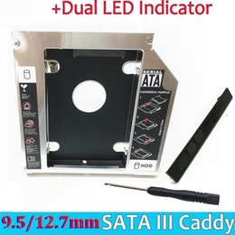 Wholesale Universal Aluminum nd HDD Caddy mm SATA III for quot mm mm mm mm SSD HDD Case Enclosure Dual LED for Laptop ODD