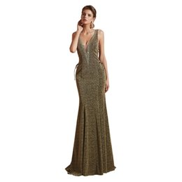 make up models UK - Gorgeous Sparkly Deep V Neck Mermaid Elegant Evening Dress Beaded Collar Lace Up Pageant Celebrity Gowns Custom Made Enening Gowns