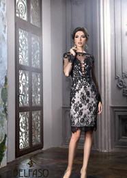 $enCountryForm.capitalKeyWord Australia - 2019 New Little Black Dresses Bateau Sheath Knee Length Elegant Plus Size Mother Of The Bride Groom Dresses Sheer lace Sexy Cocktail Gowns
