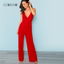 Red Formal Jumpsuits Australia - Colrovie Red Sexy Deep V Neck Crisscross Wrap Tie Waist Wide Leg Cami Jumpsuit 2018 New Autumn Solid High Waist Women Jumpsuits Y19051601