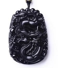 $enCountryForm.capitalKeyWord Australia - Beautiful work handmade Chinese black Natural obsidian carved dragon amulet lucky pendant