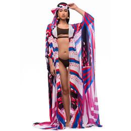 Vente en gros Nouvel été Sexy Vintage Femmes Boho Wrap Cover Up Rétro Mousseline De Soie Impression Plage Bikini Écharpe Maillot De Bain 2 pcs