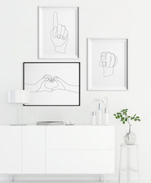 Hand art painting online shopping - Print Hand Gesture Illustration Set of I Love You One Line Prints Minimalist Couple Posters Lines Drawing Three Wall Art Gal