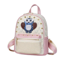 $enCountryForm.capitalKeyWord Australia - good quality Sweet Style Candy Color Backpack For Female Rivet Design Pu Leather Rucksack For Women Cartoon Print Backpack Lady