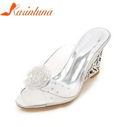 $enCountryForm.capitalKeyWord NZ - Dress Karinluna 2019 Big Size 33-43 Brand Dropship Peep Toe Cut Outs Wedge Fretwork Heels Woman Shoes Women Fashion Lady Mules Pumps