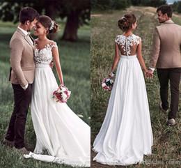 sheer white bridal wrap 2019 - Hotsale Chiffon Wedding Dresses Lace Cap Sleeves Bridal Gown Sweep Train Covered Button Illusion Back Elegant Beach Wedd