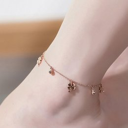$enCountryForm.capitalKeyWord Australia - Lucky Clover Bells Charm Anklet Foot Chain Women Summer Sandal Ankle New trendy