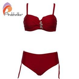 $enCountryForm.capitalKeyWord Australia - Andzhelika Plus Size Swimwear Bandeau Bikini 2018 Sexy Solid Diamond High Waist Bikini Set swimsuit Swim Bathing Suits AK8091