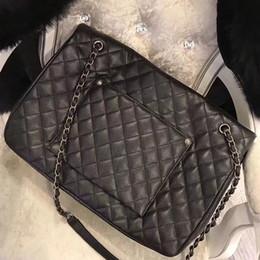 $enCountryForm.capitalKeyWord Australia - Women 46cm Big Travel Bag Genuine Caviar Leather metal chain square striped shoulder Bag for Suitcase large capacity tote