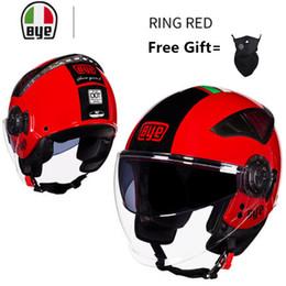 $enCountryForm.capitalKeyWord Australia - Summer New Double Lens Motorcycle Helmets Half Face ABS Motorbike Helmet Electric Safety Helmet For Women Men Moto Casque RED