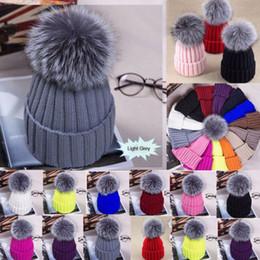 $enCountryForm.capitalKeyWord Australia - 2017 Women girl Pom Pom Beanie Warm Knitted Bobble Kids Fur Pompom Hat Children Real Raccoon Fur Pompon Winter Hat Cap S18120302