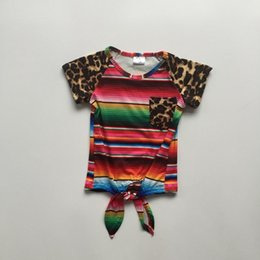 $enCountryForm.capitalKeyWord Australia - new summer baby girls children clothes outfits tie knot top t-shirt raglans LEOPARD serape milk silk cotton ruffles take bow