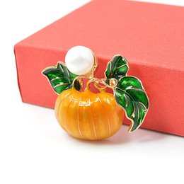 water drop brooches Australia - Pearl Pumpkin Brooches for Women Halloween Enamel Pins Fashion Jewelry Orange Color Kids Gift Drop Shipping New 2019