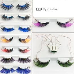 Dance False Eyelashes Australia - Led Light False Eyelashes 3D LED Full Strip Glowing Fake Eyelashes luminous Waterproof Eye Lashes for Dance Party GGA1764
