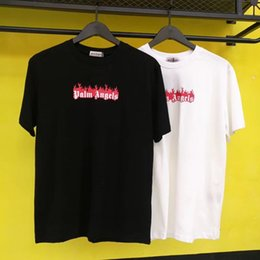 Flame print online shopping - New Palm Angels t shirt Wen High Quality flame Top Tees Palm Angels T shirt S XL