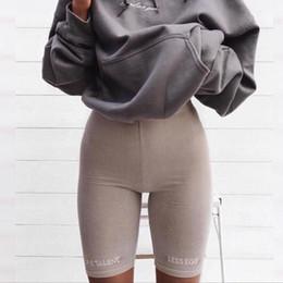 $enCountryForm.capitalKeyWord Australia - Biker Summer Shorts 2019 High Waist Shorts Women Elastic Waist Skinny Fitness Korean Casual Sexy Short Letter Print Black Shorts