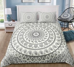 white single beds Australia - Black and White Ash Bohemia Style Bedding Set King Size Animal Flower 3D Duvet Cover Queen Home Dec Single Double Bedspread with Pillowcase