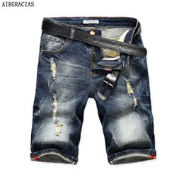 $enCountryForm.capitalKeyWord Australia - Airgracias Mens Denim Shorts 2017 Summer Straight Casual Knee Length Short Bermuda Masculina Ripped Jeans Shorts For Men 28-40 Y19062201
