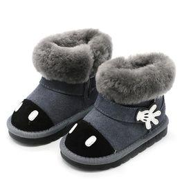 34a3009f 2018 Invierno Niño Bebé Niña de Dibujos Animados Bota de Nieve Moda Infantil  de Cuero Genuino Negro Piel Caliente Plana Zapato Del Niño CS2444