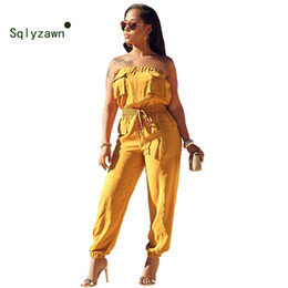 Orange Jumpsuits Australia - Rompers Womens Jumpsuit 2019 Sleeveless Loose Romper Sexy Yellow Orange Casual Pockets Cargo Overalls High Waist Female Playsuit