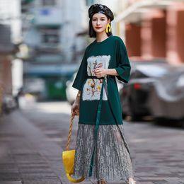 $enCountryForm.capitalKeyWord Australia - 2019 Lace Net Yarn T-shirt Skirt Long European and American Fashion Print Dress Loose Slim Dress Belt Grenadine Joint Dresses Wholesale