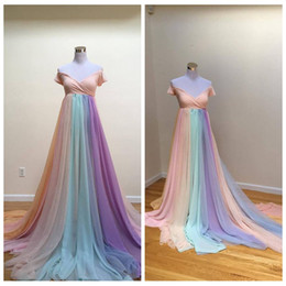 rainbow maternity dress UK - Fashion Off-the-shoulder Pastel Maternity Wedding Dresses with Sleeves Court Train Chiffon Rainbow Wedding Dress Zipper Up vestidos de novia