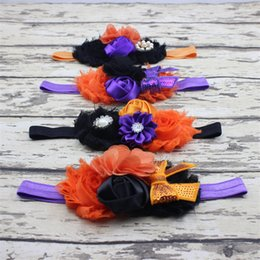 chiffon flower headband rhinestone Australia - 5styles Halloween baby Headbands Bow Flower Headbands Boutique Girls Tiara Rhinestone Satin Hair Accessories Kids Chiffon Hairband FFA2877-1