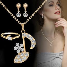 $enCountryForm.capitalKeyWord Australia - IKAXON 3Pcs set Crystal Earrings Ring Suit Imitation Gold Alloy Diamond Wedding Jewelry Sets Women Accessories Jewelry Set