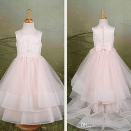 $enCountryForm.capitalKeyWord NZ - Pink Lace Flower Girl Dresses Crow A-line Tulle Little Girl Wedding Dresses Vintage Pageant Dresses Gowns