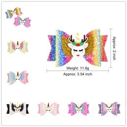 Baby Sequin Hair Clips Wholesale Australia - INS Baby Girls Unicorn Hairpin 16style Sequins Glitter Hair Clips Cute Elk Rainbow Cosplay Barrettes Gretel Kids Bow Hair Accessories A51704